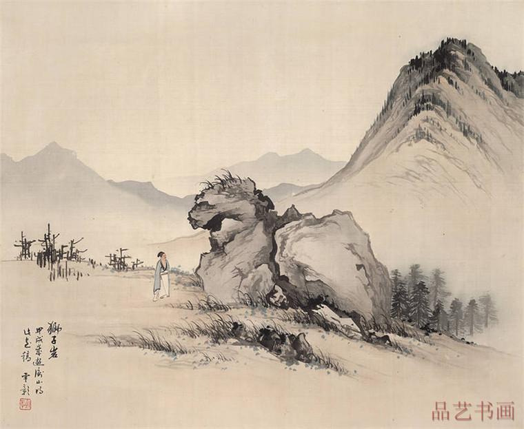 45-陈少梅-狮子岩图天津博物馆.jpg